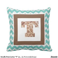 "Giraffe Print Letter ""T"" on Mint/White Chevron Pillow"