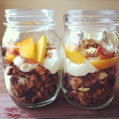 Granola, Yogurt, and Peach Parfaits in Mason Jars. 3 of my favorite breakfast food together! Yum.  -from the Amateur Gourmet