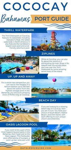 Port Guide: Perfect Day at CocoCay Find out all the top cruise excursions on Royal Caribbean's new island in the Bahamas, Perfect Day at CocoCay. Top Cruise, Best Cruise, Cruise Travel, Cruise Vacation, Shopping Travel, Beach Travel, Disney Cruise, Vacation Ideas, Vacation Spots