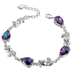 Rainbow Mystic Topaz Tear Drop Rose Silver Plated Bracelet