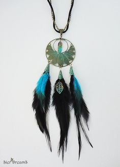 Feather Necklace Gypsy Jewelry Patina Necklace Long by SierDreamS