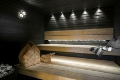 Traditional Finnish sauna with modern twist. Labor Junction / Home Improvement… Diy Sauna, Sauna Steam Room, Sauna Room, Saunas, Sauna Lights, Sauna House, Sauna Design, Outdoor Sauna, Finnish Sauna