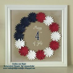 No automatic alt text available. July Crafts, Holiday Crafts, Holiday Decor, Star Cards, Stamping Up Cards, Fourth Of July, Decor Crafts, Paper Flowers, Framed Art
