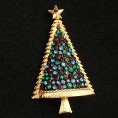 Xmas Christmas Tree Brooch Pin Vintage Rhinestones Jewel Tones