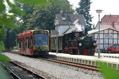<Nordhausen>  コンビーノパラダイスのノルトハウゼンにあって最大の異端児は3編成ある、このCombino Duo。Harzer Schmalspurbahnen(HSB=ハルツ狭軌鉄道)という蒸気機関車も走る非電化私鉄に直通運転しており、市内では架線集電、路面電車のBahnhofsplatz電停でパンタグラフを下げ、ディーゼル駆動でHSB線内に乗り入れる。HSBは3路線あるが、乗り入れ先は幹線であるHarzquerbahn途中のIlferdNeanderklinik駅まで。運が良ければ写真のように蒸気機関車と出合うこともある(大抵は単行の気動車)。