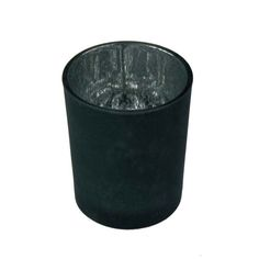 Black Frosted Flecked Glass Candle Holder - 65mm