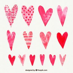 Hand painted collection of valentine hearts Free Vector