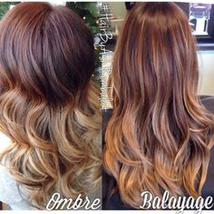 Ombre vs Balayage - Here you can see the difference… The balayage is more natural but very pretty! :)