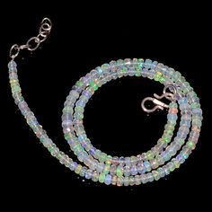 "39CRTS 3.5to4.5MM 18"" ETHIOPIAN OPAL FACETED RONDELLE BEADS NECKLACE OBI2142 #OPALBEADSINDIA"