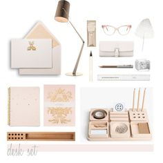 Desk Set by hellodollface on Polyvore featuring polyvore, interior, interiors, interior design, home, home decor, interior decorating, Bell'Invito, RIFLE and Sugar Paper