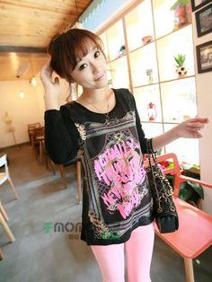 Black Long Sleeves Colorful Pattern Korean Trendy Blouse  7