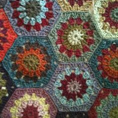 Crochet hexagon afghans | Beautiful colors