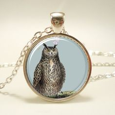 Owl Necklace Owl Art Pendant Charm With Necklace Chain by rainnua