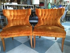 Pair Mid Century Modern Tufted Slipper Chairs By Floridamodern33405 On Etsy Hollywood Regency