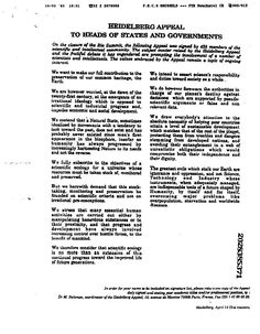 There has been numerious appeals from climate organisations and scientists. The 'Heidelberg Appeal' was addressed to the chiefs of state and governments, published in June 1992 in the Wall Street Journal over the signatures of 46 prominent scientists and other intellectuals, calling for sustainability and Scientific Ecology. Subsequently it has been endorsed by around 4,000 scientists, including 72 Nobel Prize winners.    http://mik.aidt.co/?p=1404