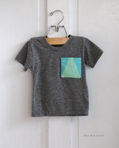 toddlers handmade patchwork pocket t-shirt