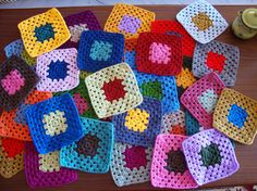 Crochet granny squares  Used to make these when I was young/er - should maybe start doing it again :)