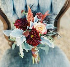 Pink Peony and Orchid Wedding Decor Brides: Mixed Bouquet of Red & Orange Dahlias. A deep red and orange bouquet of dahlias, astilbe, roses, and dusty miller, created by Southern Blooms by Pat's Floral Design. Fall Wedding Flowers, Fall Wedding Colors, Flower Bouquet Wedding, Wedding Color Schemes, Wedding Day, April Wedding, Fall Flowers, October Flowers, Burgundy Wedding