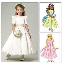 Special Occasions - First Communion - Flower Girl. Sewing Pattern to Make. Fancy Dresses for Special Little Girls! lined dresses, below mid-calf, semi-fitted, bodice, flared skirt and back zipper closure. Gowns For Girls, Little Girl Dresses, Girls Dresses, Wedding Dress Patterns, Dress Sewing Patterns, Flower Girl Dress Patterns, Pattern Flower, Fabric Sewing, Frock Patterns