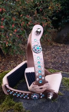 Copper Crystal Stirrups with concho.  These are Slanted! Jozee Girl insets the Swarovski Crystals. These have Teal Crystals and a Crystal Concho. Beautiful horse tack!