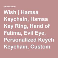 Wish   Hamsa Keychain, Hamsa Key Ring, Hand of Fatima, Evil Eye, Personalized Keychain, Custom Keychain, Charm Keychain