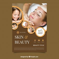 Poster for a spa center with a photo Free Vector Centre Spa, Prospectus, Spa Accessories, Stone Massage, Healthy Living Quotes, Massage Therapy, Beauty Care, Lose Weight, Social Media