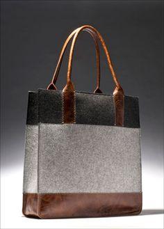 Graf-Lantz wool felt and leather tote - wonderful color combination! Sacs Design, Felt Purse, Felt Bags, Unique Purses, Beautiful Bags, Leather Purses, Leather Totes, Leather Bags, Purses And Bags
