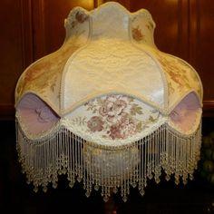 Stunning HUGE Victorian Style Lamp Shade Beaded Fringe Chiffon Rosettes