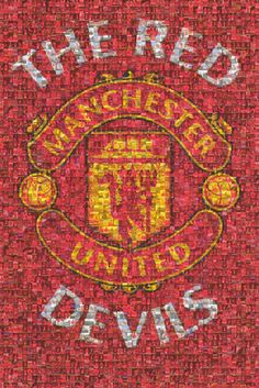 Manchester United FC Red Devils Photomosaic Team Logo Poster 24x36