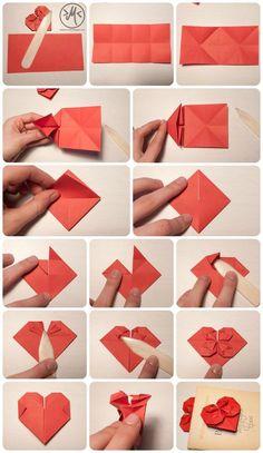 DIY Origami-Herz, als Geschenk zum Valentinstag oder Muttertag. Origami Fox, Instruções Origami, Origami Modular, Origami Cards, Origami Star Box, Origami Design, Origami Turtle, Origami Tattoo, Origami Swan