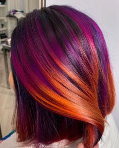 Uploaded by Hair & Hairstyles. Find images and videos about sunset hair color and purple-orange hair color on We Heart It - the app to get lost in what you love. Hair Color And Cut, Hair Color Dark, Cool Hair Color, Vivid Hair Color, Fire Hair Color, Pelo Color Morado, Sunset Hair, Creative Hair Color, Hair Dye Colors