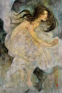 Rebecca Guay is an artist and illustrator whose dreamlike watercolor paintings invite viewers to languish in their sensual imagery. Ornamented with gold leaf, her female protagonists luxuriate . Art And Illustration, Japanese Illustration, Fantasy Kunst, Fantasy Art, Painting & Drawing, Watercolor Paintings, Oil Paintings, Watercolor Artists, Painting Lessons