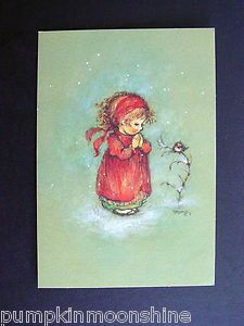 Vintage Hallmark Xmas Greeting Card by Mary Hamilton Little Girl Praying Bird   eBay