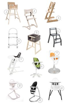 Modern-high-chairs: I like these, but they're all so pricy! Do we need a highchair for the first year? I'm thinking we may be able to get by without one.
