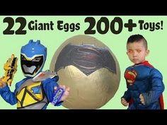 22 Giant Surprise Eggs 200+ Toys Unboxing Power Rangers Spiderman Batman...