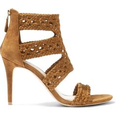 Sandro Agate woven suede sandals (67.085 HUF) ❤ liked on Polyvore featuring shoes, sandals, sand, sandro shoes, suede shoes, high heel shoes, zipper shoes and high heel sandals