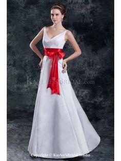 Satin V-Neck Neckline Floor Length A-line Sash Wedding Dress