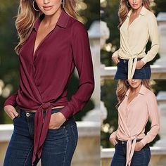 V Neck Long Sleeve Oversized Front Tie Knot  Blouse