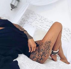 Flower and Mehndi thigh piece