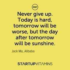 Image result for 'Never give up. Today is hard, tomorrow will be worse, but the day after tomorrow will be sunshine'.""