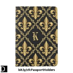 This distinctive passport cover features an elegant pattern of golden fleur-de-lis symbols inside of a diamond-shaped lattice of decorative scrollwork. The monogram letter in the center can be changed to whatever you prefer. #StudioDalio #custom #bespoke #Monogrammed #travel #accessories
