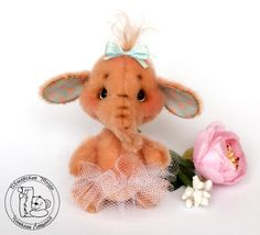 OOAK/Artist Teddy Bear/Mini Elephant Ballerina Missy by TashkasBears on Etsy