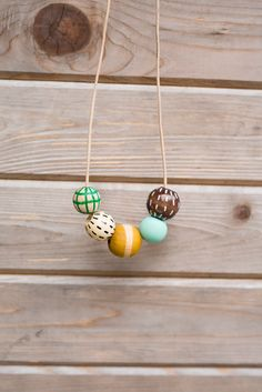 Copy of Copy of Hand Painted Wooden Bead Necklace // Rosemary & Thyme // by Anna Joyce