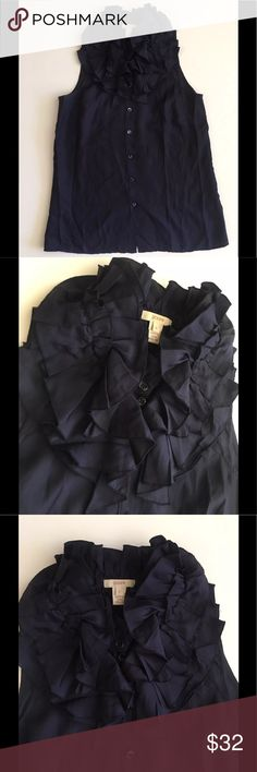 """J.Crew navy blue ruffled top size 2 """"like new"""" This is a pre-loved / pre- owned Top by j.Crew. It's a dark navy blue color. It's sleeveless, has lots of ruffles just around the neck and is Size 2. This top is in like new condition. Check the images. Feel free to ask questions or send reasonable offers (please make them your best offers). Also try checking my other listings, I bet you'll love some ❤️ J. Crew Tops Blouses"""