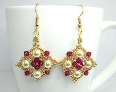 Ruby and pearl earrings, renaissance earrings, swarovski earrings, medieval earrings, tudor earrings ruby swarovski beadwork beadwoven ER017