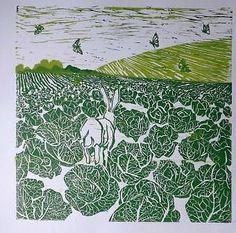 Cabbage Field Hare, original print, lino cut