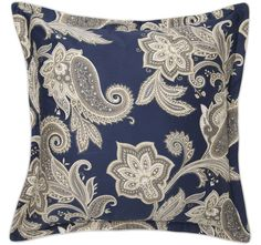 Alexandra Navy is a stunning ensemble featuring an awe inspiring paisley print with regal blue and natural overtones. These decorative silhouettes create drama in the bedroom, complemented by the self-flanged edges and cord piping in sandstone.