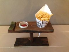 Fries bag and dip sauce holder from wine barrel stave (made by WeinARTig)