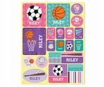 """Children love stickers, and they're even more fun when they include the child's own name! Our personalized sports stickers feature your child's first name on super cute pink and purple illustrations of pennants, volleyballs, softballs, basketballs and more! You will receive one 9"""" x 11"""" sheet with a total of 18 stickers.Gender and ages:Girls and boys ages 2-10Size:9"""" x 11"""" sticker sheetShippingStandard delivery:Receive 2 weeks after date of orderExpedited delivery:Receive 7-8 business days…"""