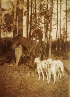Czar with borzoi dogs.